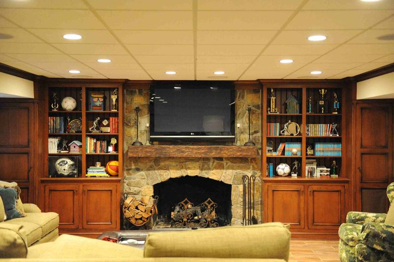 Mantel and bookcases